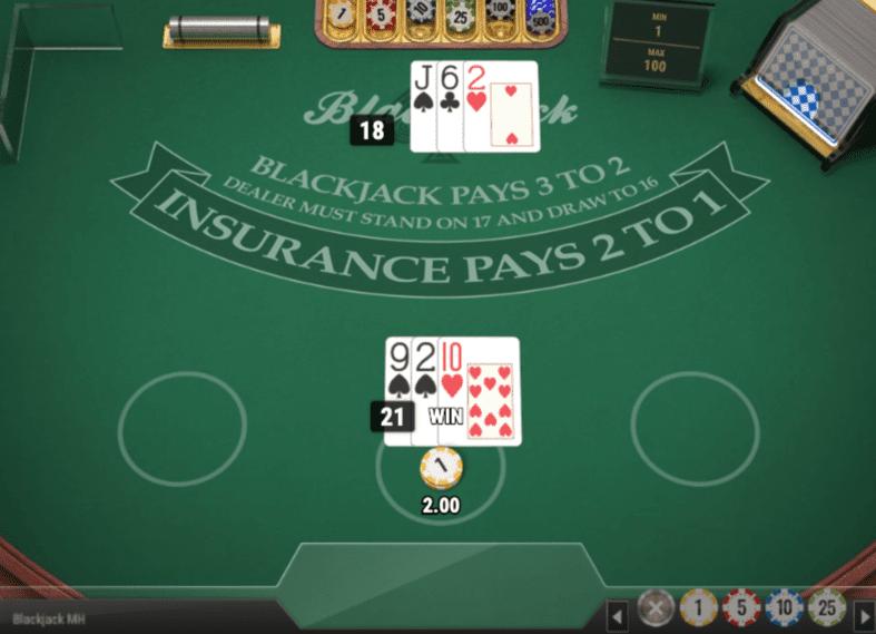 ブラックジャックでプレイヤー勝ち